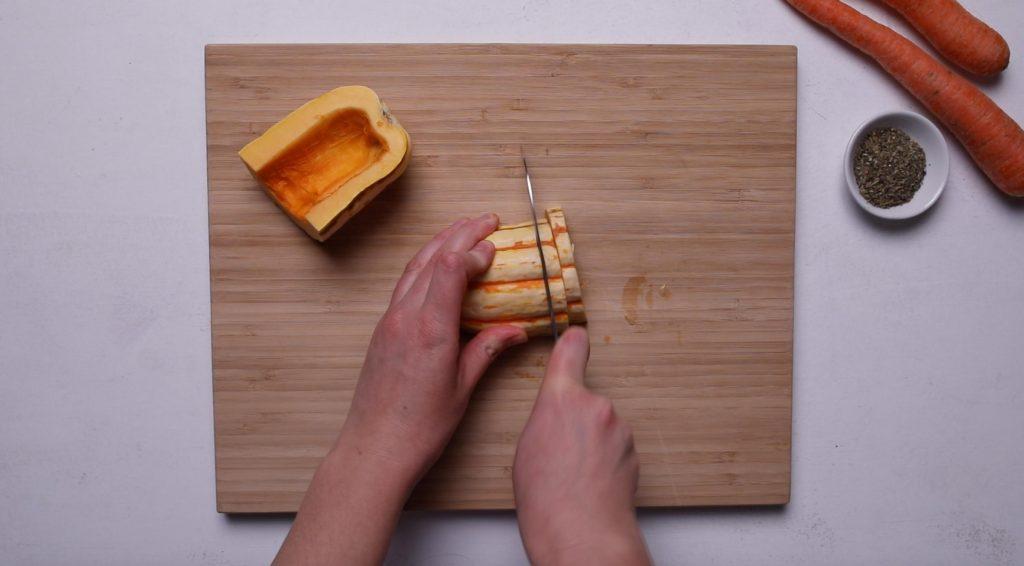 slicing delicata squash