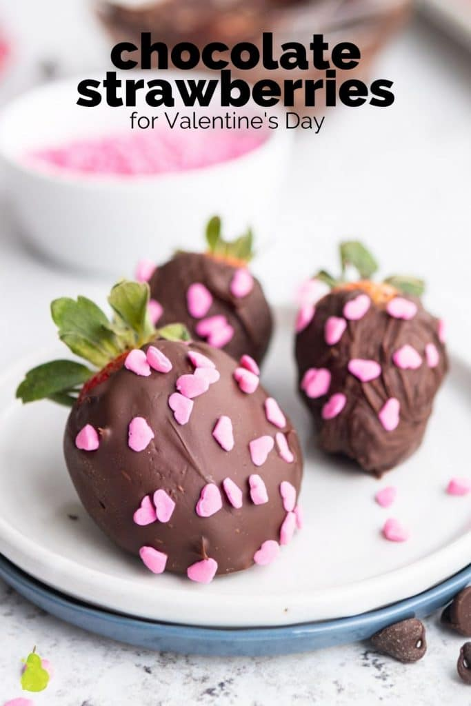 chocolate covered strawberries with heart sprinkles and a text overlay