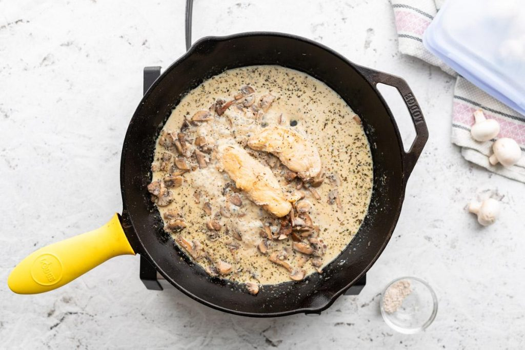 chicken and mushrooms in a cream sauce