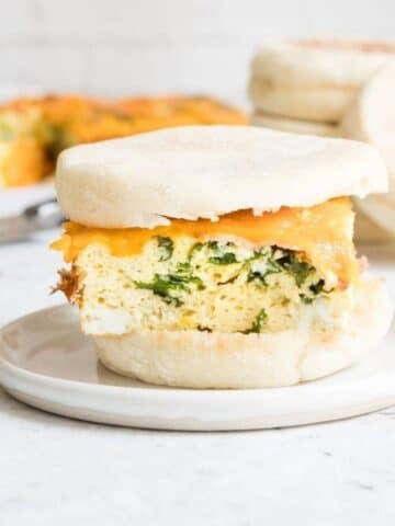 egg sandwich in an english muffin