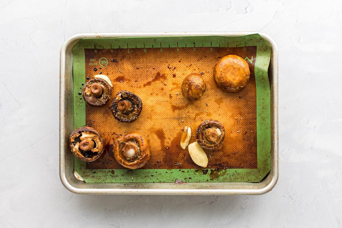 cooked mushrooms on baking sheet