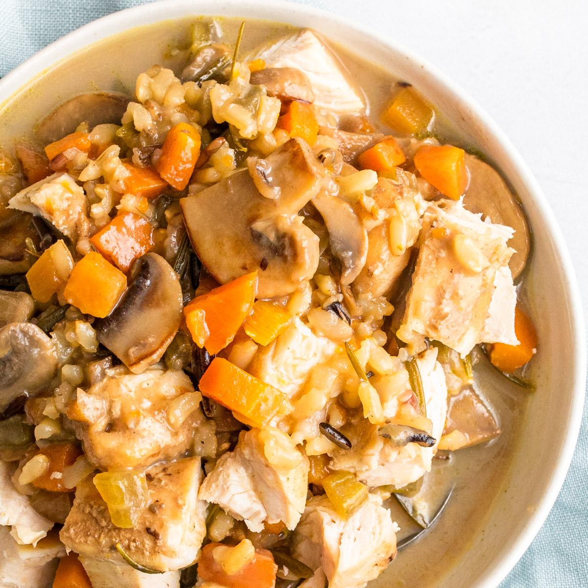 close up of mushroom and wild rice soup in a bowl