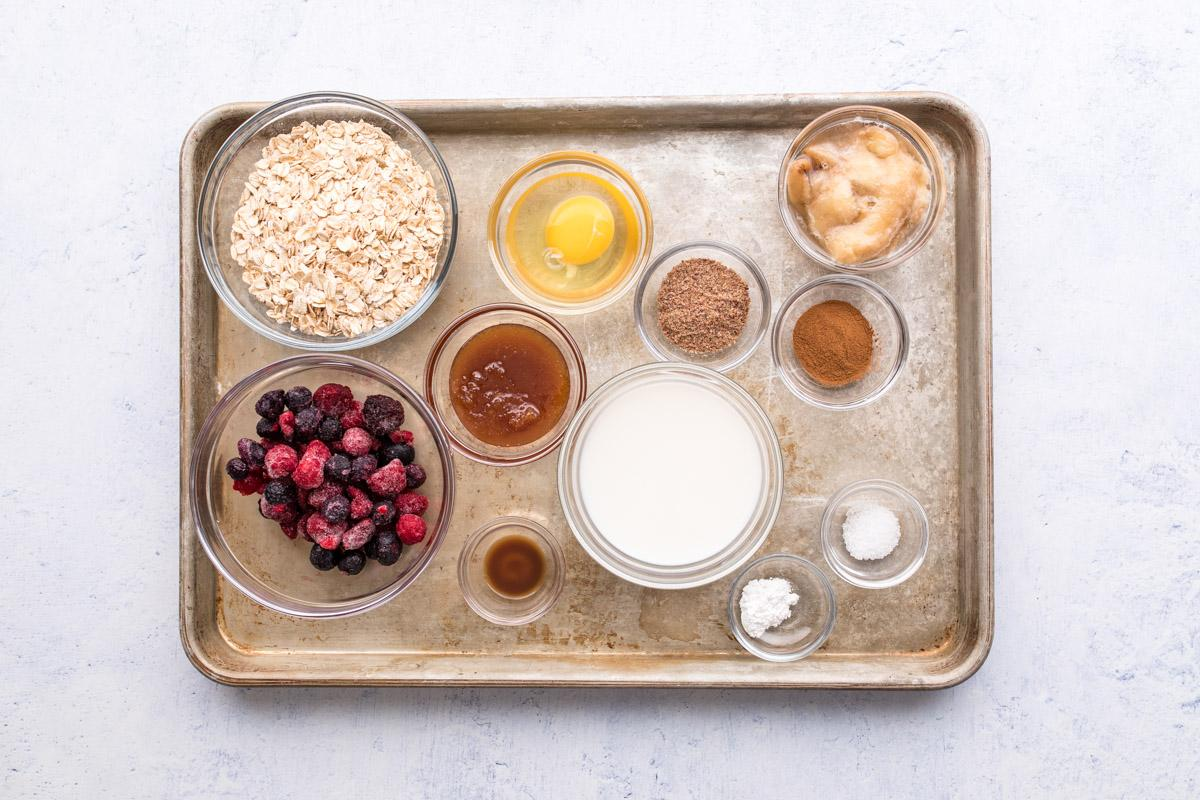 oatmeal cup ingredients on a baking sheet