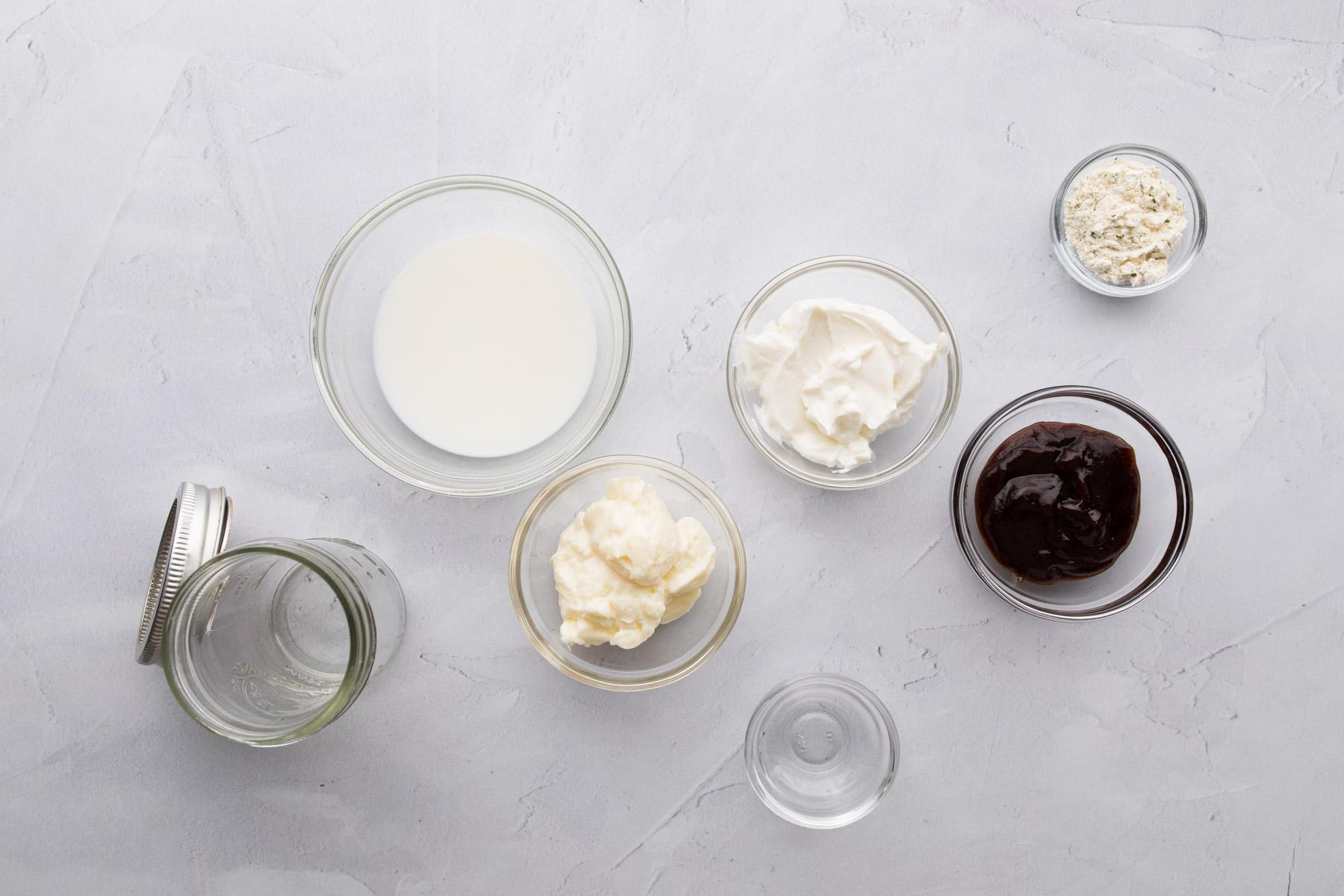 barbecue ranch salad dressing ingredients on a table