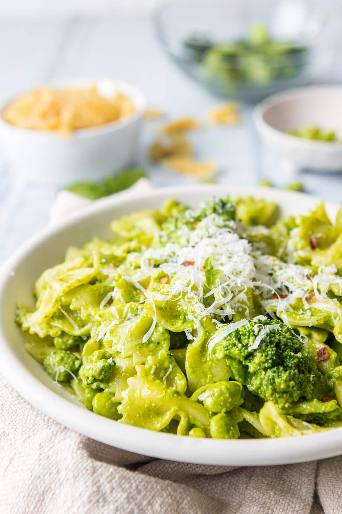 close up of pesto pasta in a bowl